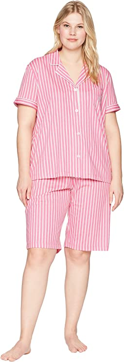 LAUREN Ralph Lauren Plus Size Short Sleeve Notch Collar Bermuda PJ Set