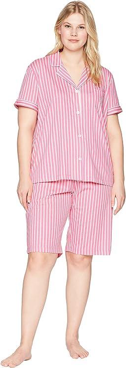 LAUREN Ralph Lauren - Plus Size Short Sleeve Notch Collar Bermuda PJ Set