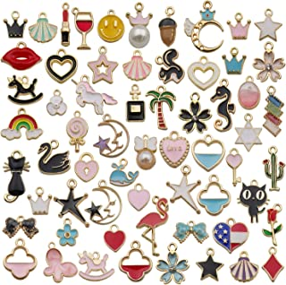 iloveDIYbeads 60pcs Mixed Assorted Gold Plated Enamel Animals Fruit Moon Star Dainty Dangle Charm Pendant for DIY Jewelry Making Necklace Bracelet Earring DIY Jewelry Accessories Charms (M330)