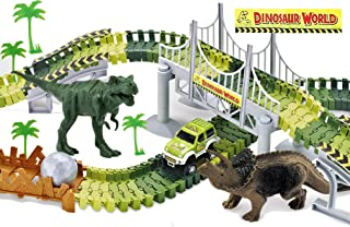 Haktoys Dinosaur Race Track Safari Playset   Children's DIY Flexible & Interchangeable Tracks   Easy to Assemble Toy Set   Complete Educational Set with Dinosaurs and Accessories Included