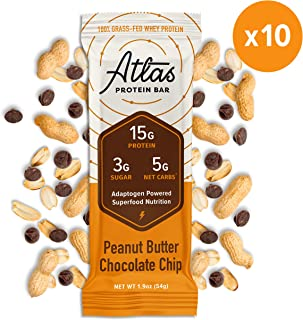 Atlas Protein Bar - Keto Friendly, Peanut Butter Chip (10-Pack) — Grass Fed Whey, Low Sugar, Clean Ingredients, All Natural, Gluten Free, Soy Free, and GMO Free