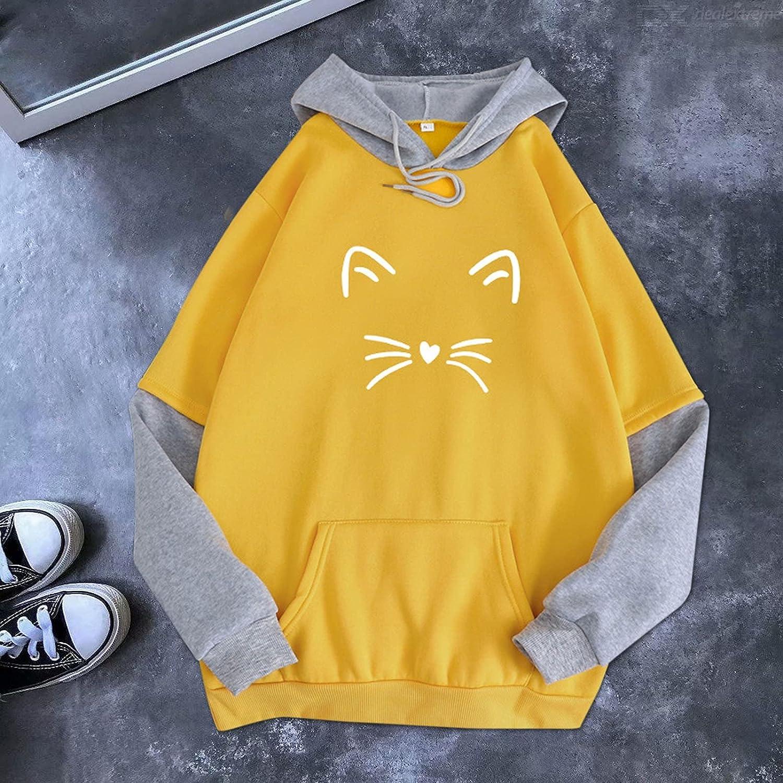 felwors Teen Girls Hoodies, Womens Long Sleeve Tops Sweatshirts Cute Printed Oversized Drawstring Pullover Hoodies