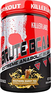 Killer Labz Brute BCAA Powder, Intra and Post Workout Recover Drink, Amino Acids Supplement, 450 Grams, 60 Servings, Southern Sweet Tea