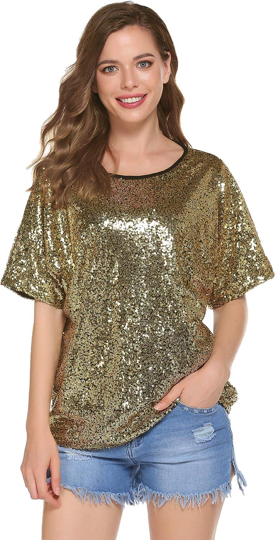 Women's Glitter Shirt Sequin Blouse Sequin Tops Party Tunic ...