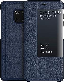 comprar comparacion KANSI Compatible con Huawei Mate 20 Pro Funda, Smart View Flip Funda de Cuero + Protector Pantalla - Marina