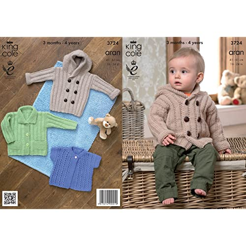 b0d595b8a King Cole Baby Aran Knitting Pattern Kids Hooded Coat Jacket   Lacy Short  Sleeve Cardigan 3724