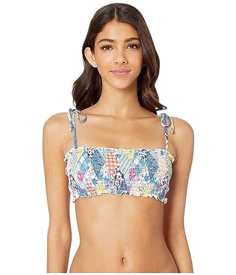 dba43b882eefc7 Polo Ralph Lauren Patchwork Tie Shoulder Smocked Bra Top at Zappos.com