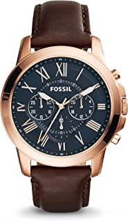 Fossil Men's 44mm Rose Goldtone Grant Watch with Brown Leather Strap
