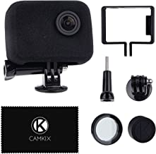 CamKix compatible Windscreen & Frame Mount for GoPro Camera - Reduces Wind Noise for Optimal Audio Recording - For GoPro HERO4, HERO3+ and HERO3 - UV Filter Lens Protector, Lens Cap and Cleaning Cloth