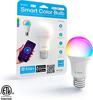 atomi smart WiFi Color LED Light Bulb with Color Changing Hue (2500K-9000K), Dimmable, E26 A19, No Hub Required, 60W Equivalent, Free App Download, Compatible with Alexa & Google Home, 1-Pack