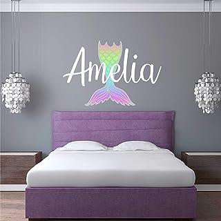 Custom Name Mermaid Nursery Wall Decal - Girls Personalized Name Mermaid Wall Sticker - Custom Name Sign - Custom Name Stencil Monogram - Girls Nursery Wall Decor
