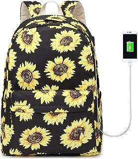 Sunflower Backpack Set Girls Bookbags Set 3 in 1 Teens Canvas School Bag Women Floral Casual Daypack College Laptop Backpack