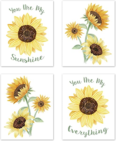 Sweet Jojo Designs Yellow Green And White Sunflower Boho Floral Wall Art Prints Room Decor For Baby Nursery And Kids Set Of 4 Farmhouse Watercolor Flower You Are My Sunshine