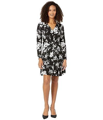 MICHAEL Michael Kors Tropical Bib Long Sleeve Dress (Black/White) Women