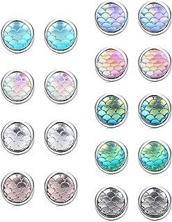 9 Pairs Mermaid Scale Stud Earrings for Kids Girls Stainless Steel Hypoallergenic Rainbow Round Circle Earrings Set