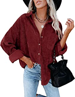 FUERI Womens Oversized Blouse V Neck Shirt Long Sleeve Corduroy Cotton Loose Fit Spring Autumn Coat Outerwear Tops