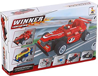 Ausini Winner 4 Channels Radio Control Car Construction Toy For Kids, 205 Pieces - Red and White