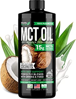 Organic MCT Oil for Brain, Energy & Weight Loss Boost - Made in USA - 100% Natural Pure Coconut Oil - Premium Metabolism B...