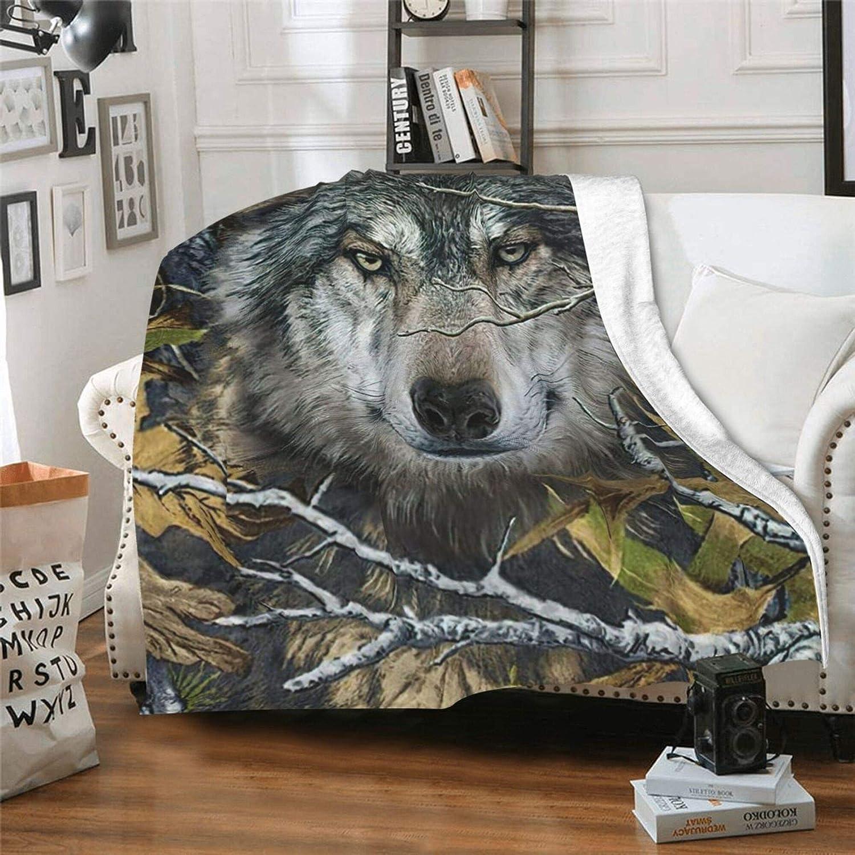 JASMODER Wolf Forest Camouflage Throw Mi Ultra-Soft Atlanta Mall Blanket Warm Spasm price