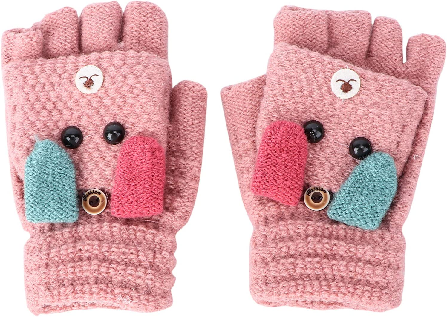 ABOOFAN 1 Pair Knitted Half- Finger Gloves Cartoon Puppy Clamshell Mitten Warm Mitts Party Favors
