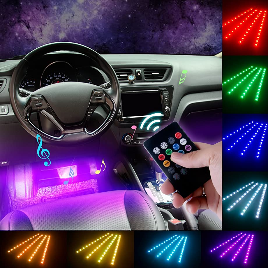 DITRIO 4x12LED interior lighting car light bar multicolour LED strip with remote control and car charger DC 10-15V