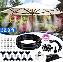 Bearbro Misting Cooling System,Misters for Patio, 32.8FT(10M) Misting Line DIY Outdoor Mist Cooling Kit +10 Mist Nozzles +20 Tube Ties + a Connector(3/4'') Great for Patio Garden Greenhouse Trampolin