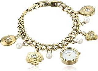 Armitron Women's Swarovski Crystal Accented Gold-Tone Charm Bracelet Watch, 75/5684MPGP