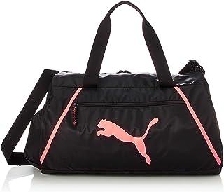 PUMA Womens At Ess Barrel Pearl Sports Bag, Black (Black/Nrgy Peach) - 07785403