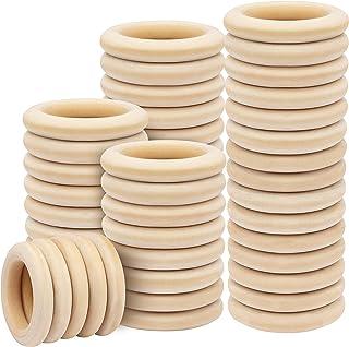 Kurtzy Holz Ringe Natur 50 STK – Durchmesser Außen 5mm, Innen 35mm – Holzringe aus Naturholz Holzkreis Unbehandelt zum Basteln, DIY, Deko, Mobile, Schmuck, Holzkranz, Bastelring