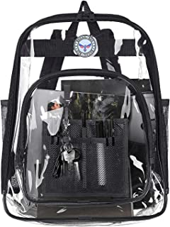 BAGAIL Clear Backpack Heavy Duty See Through Transparent Daypack Student School Bookback, Black (Black) - th0001