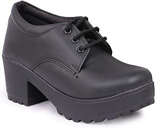 YAHE Women's Casual Faux Leather Block Heels Sneakers Shoes Y-602