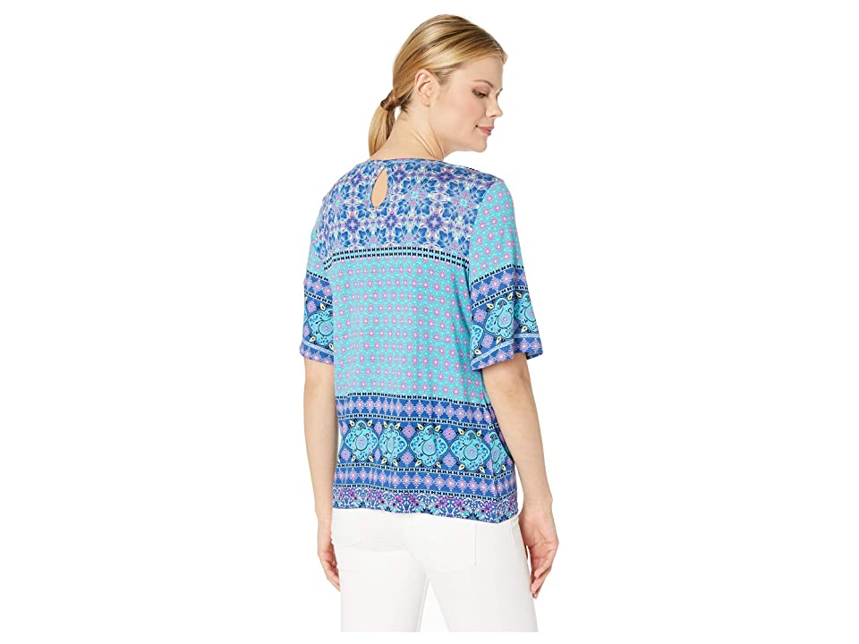 Tribal Slub Jersey Flutter Sleeve Top w/ Keyhole (Pink) Women's T Shirt
