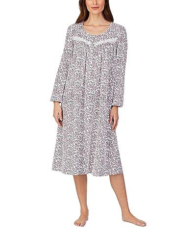 Eileen West Cotton Jersey Knit Long Nightgown (White Scroll) Women
