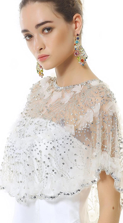 Passat 3D Crystals Flowers Beaded Bridal Cape PJ9
