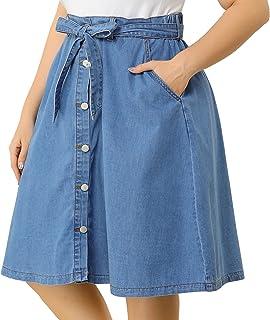 Agnes Orinda Plus Size Denim Skirt for Women Tie Waist Button Front a Line Jean Midi Skirts