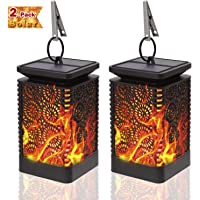 2-Pack KeShi Hanging Solar Lights with Dancing Flames for Outdoor