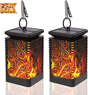 Solar Lanterns Outdoor - KeShi Hanging Solar Lights with Dancing Flames Waterproof Outdoor Lanterns Auto On/Off Lighting Dusk to Dawn 99 Bright LED for Yard Garden Patio Camping(2 Pack)