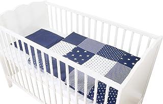 Conjunto de ropa de cuna de ULLENBOOM ® con estrellas azules (juego de 2 piezas para cuna: funda de almohada de 35x40 cm y funda nórdica de 80x80 cm)