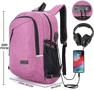 Mochila antirrobo, mochila Daypack 30L con conector de auriculares con interfaz de carga USB y candado con contraseña, mochila al aire libre para negocios de hombres y mujeres, mochila para portátil de 12-16 pulgadas, estudiante (Morado)