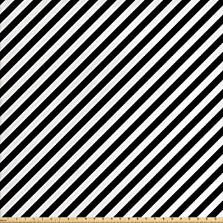 Lunarable Striped Fabric by The Yard, Diagonal Stripes Monochrome Pattern Abstract Geometric Elements Retro Inspirations, Decorative Fabric for Upholstery and Home Accents, 3 Yards, White and Black