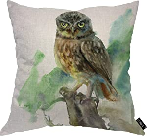 EKOBLA Watercolor Owl Throw Pillow Cover an Owl Sitting on The Trunk of an Old Tree Forest Feather Cozy Square Cushion Case for Men Women Boys Girls Room Home Decor Cotton Linen 18x18 Inch