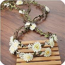Bohemian Wreath Hair Band Flower Crown Women Rattan Simulation Flower Headband Wrist Headwear Hair Accessories,6