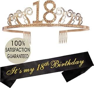 18th Birthday Tiara and Sash   Happy 18th Birthday Party Supplies   It's My 18th Birthday Glitter Satin Sash and Crystal Tiara Birthday Crown for 18th Birthday Party Supplies and Decorations…