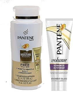 Pantene Pro V BUNDLE Daily Mositure Renewal Shampoo 20.1oz   3 Minute Miracle Daily Conditioner 2.5oz   Volume Texturizing Gel 6.8oz