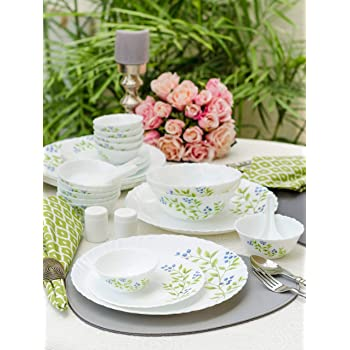 LaOpala Lush Greens Opalware Dinner Set (White) -Set of 35 Pieces