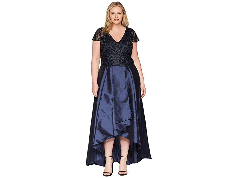 668aa0eae5f Adrianna Papell Plus Size Beaded Long Dress (Navy) Women
