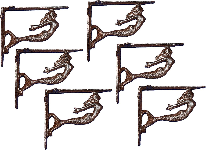 Rustic Cast Iron Nautical Mermaid of Brackets Set Shelf 返品交換不可 Soaring 安心の定価販売