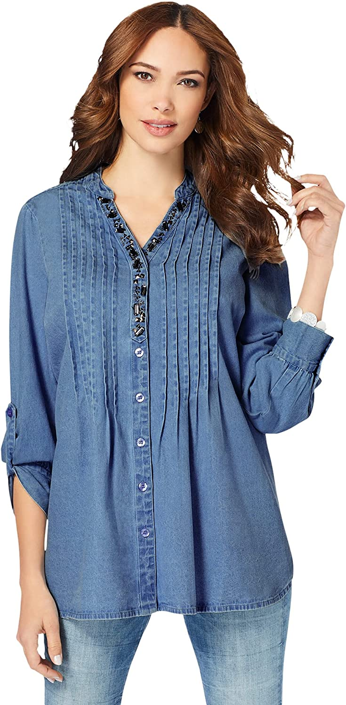 Roamans Women's Plus Size Jeweled Y-Neck Big Shirt