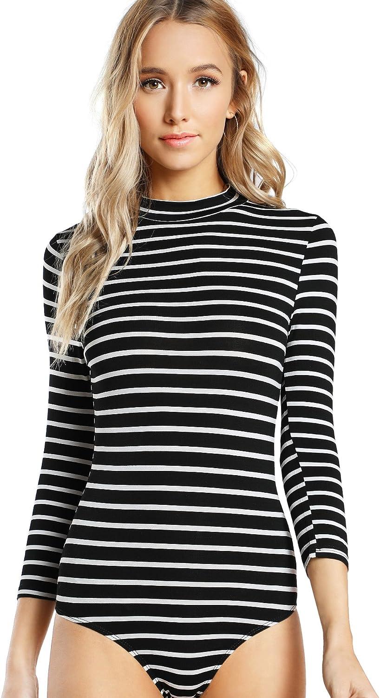 DIDK Women's Mock Neck Slim Striped 3/4 Sleeve Bodysuit