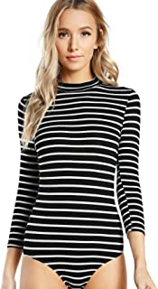 Women's Mock Neck Slim Striped 3/4 Sleeve Bodysuit